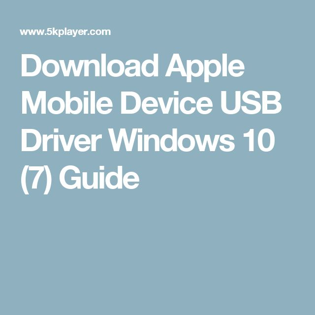 apple usb drivers for windows 7 download