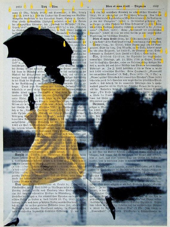 YELLOW RAIN Giclee Print Poster Mixed Media by interiorart on Etsy, $12.00