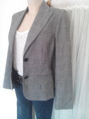20€ - Blazer, veste tailleur Imprimé Prince de Galles gris et bLeu T38