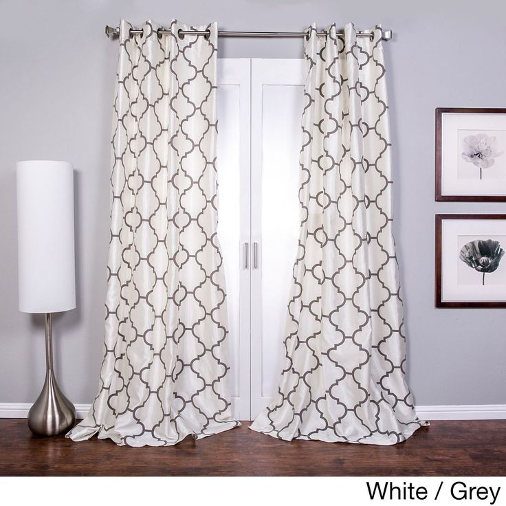 Lambrequin Morocco Flocked Faux Silk Grommet-top 96-inch Curtain Panel (White/Grey 96), Size 52 x 96 (Polyester, Geometric)