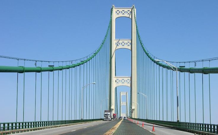 Mackinac Bridge tower - the center lanes are grating you can look through and see the water, a long way down - I've drove across this bridge many times through the years