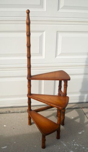 Library Ladder Vtg Wood Stepstool Step Stool Bookcase Book