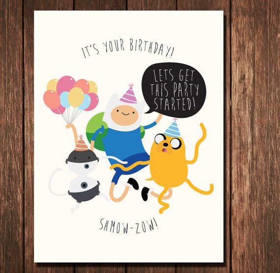 Birthday Card Adventure Time by LittleBambii04 on Etsy