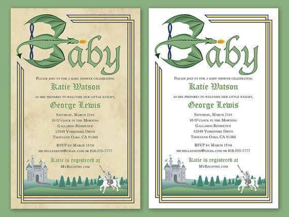 "Custom Knight and Dragon Fairytale Baby Shower Invitation Printable Download in white or parchament 5.5"" x 8.5""  By Shameron Studios on Etsy"