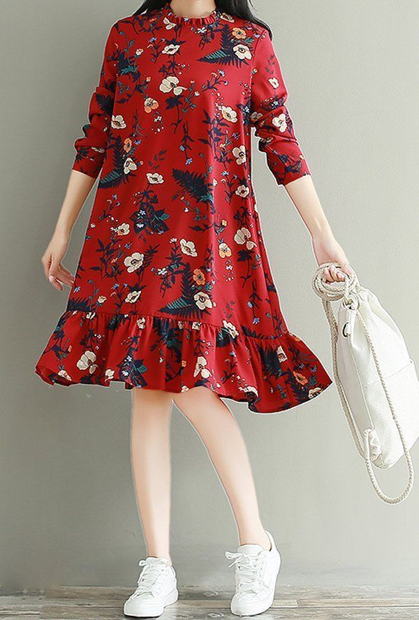 Women loose fit plus size retro flower dress skater skirt fashion long sleeve