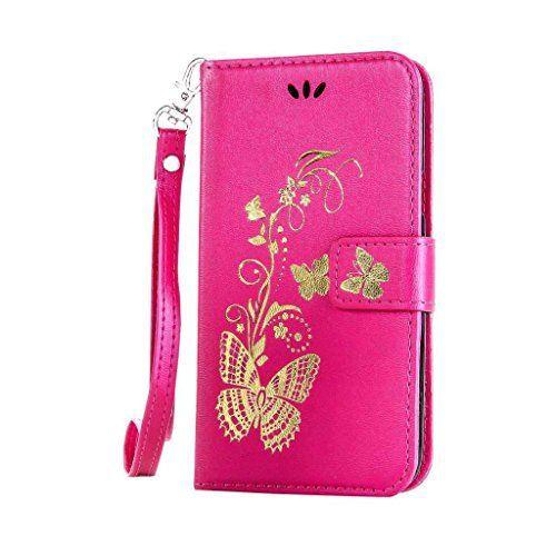 iPhone 6/ iPhone 6S 手帳型 OMATENTI 本革 カバー カードポケット スタンド機能 マグネット式 アイフォン Apple iPhone 6/6S 用 財布型 カバー [強化ガラスフィルムを無料で贈ります] [全10色] (ホットピンク)
