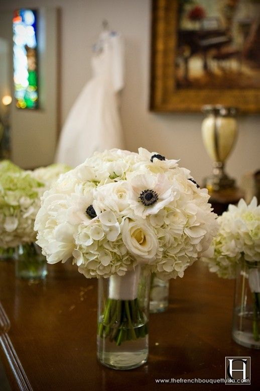 white anemone bouquet with white hydrangeas and peonies/ranunculus