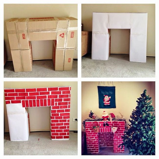 No fireplace - no problem! Make your own out of cardboard boxes!
