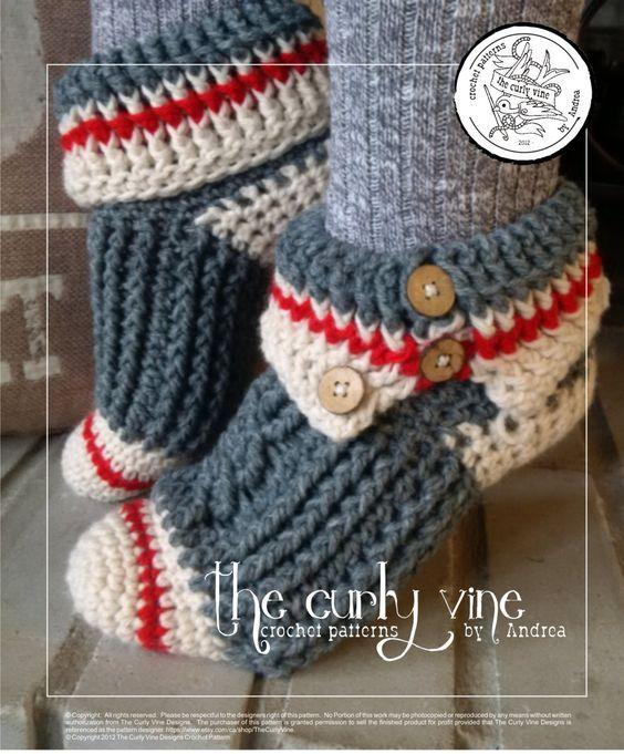 PATTERN ONLY Crochet Sock Monkey Slippers by TheCurlyVine on Etsy
