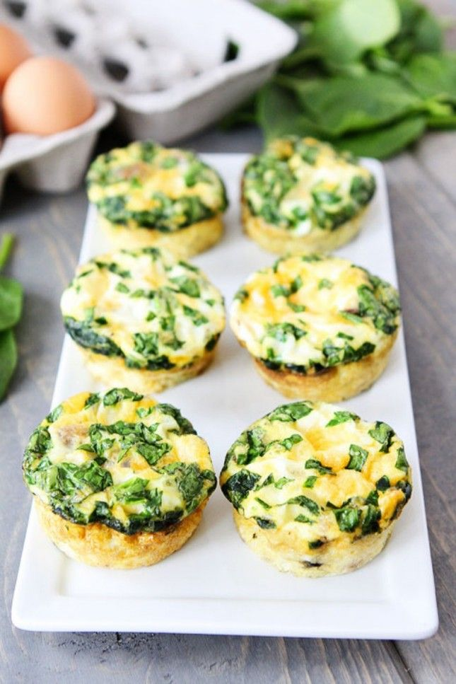 Egg Muffins with Sausage, Spinach, and Cheese.
