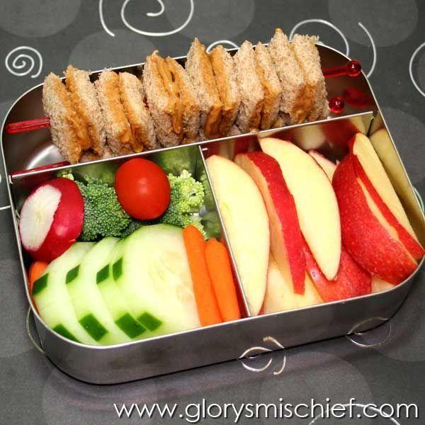 PB sandwich skewer, apple slices, and veggies (add hummus or ranch)