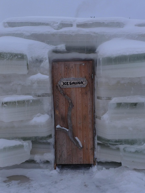 ...one of the nicest of the Oulu Province, Finland - ice sauna doors.