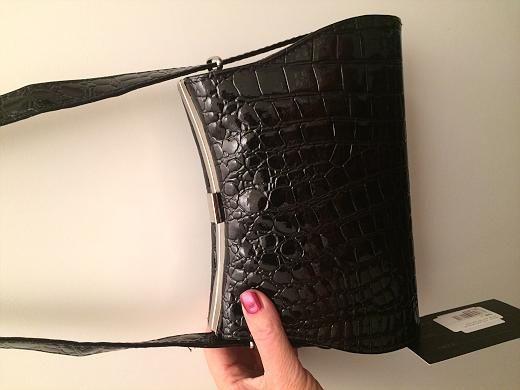 Heather croc evening purse, sort