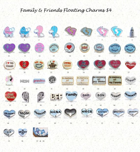 Family and Friends Floating Locket Charms by BrynnaExpressions, $4.00