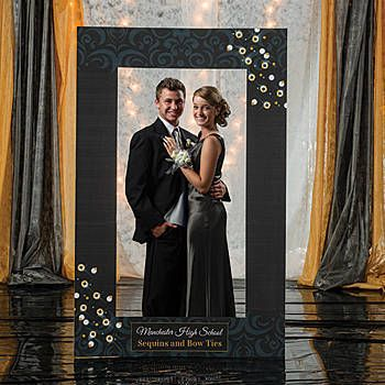 Our Sequins & Bow Ties Photo Booth Prop features an imprinted sequin border with a black and white striped background customized with your wording.