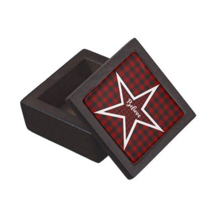 Believe plaid star jewelry box - Xmas ChristmasEve Christmas Eve Christmas merry xmas family kids gifts holidays Santa