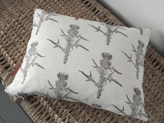 Hand printed fabric nature print cushion in monochrome Thistle print