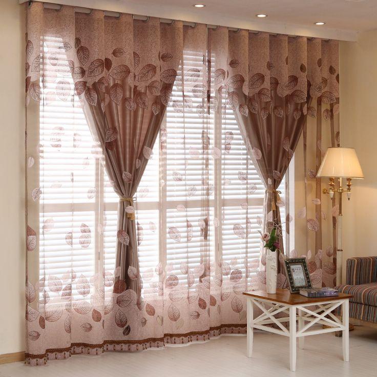 Cortinas de las ventanas de lujo situado a Sala de estar europeos Cortinas reales para el dormitorio (1 Cortina de PC y PC 1) Tul