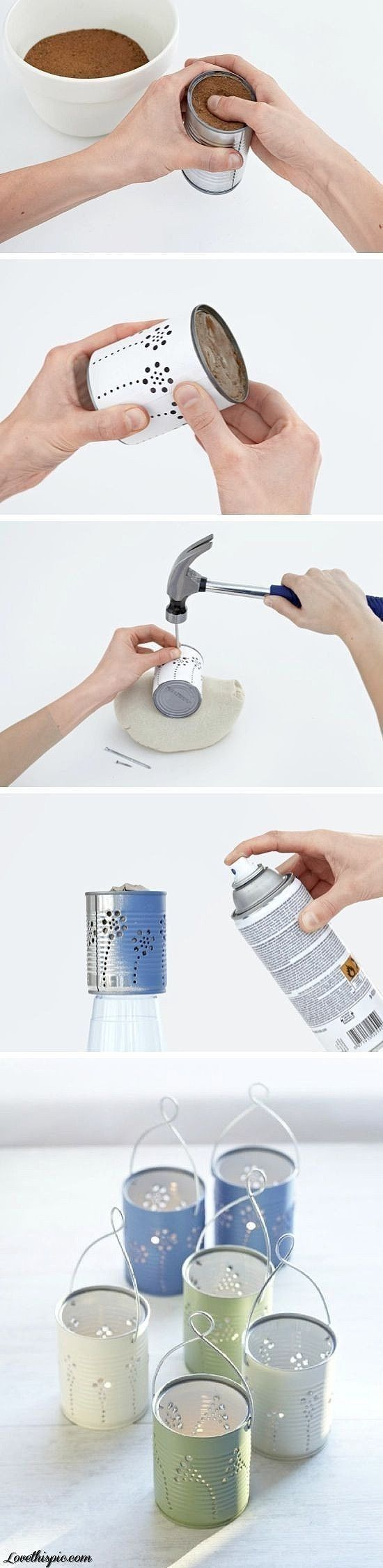 Making lights for a summer garden soiree from tin cans.