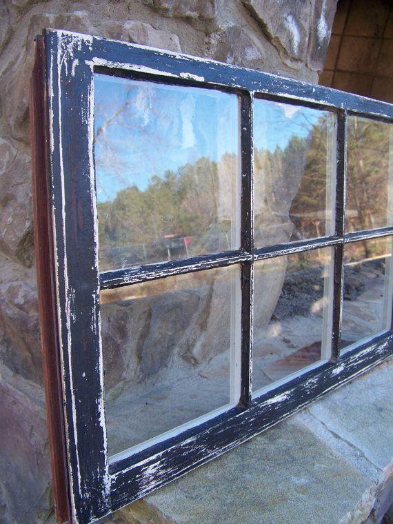 vintage distressed black wooden window frame