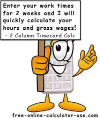 2-Column Bi-Weekly Time Card Calculator