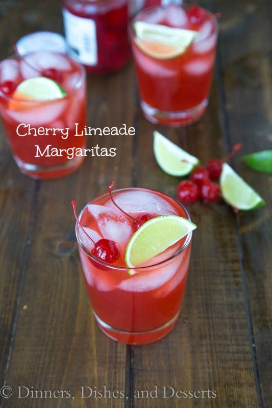 Cherry Limeade Margaritas - (non-alcoholic version as well). 1 1/2 cups homemade limeade 1/4 cup cherry juice or grenadine 3 tablespoons triple sec 1/2 cup Patron Maraschino cherries