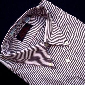 Sero Shirtmakers - Broadcloth Buttondown - Burgundy Banker Stripe