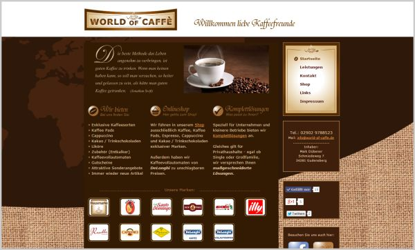 Homepage Kaffeeshop  www.world-of-caffe.de