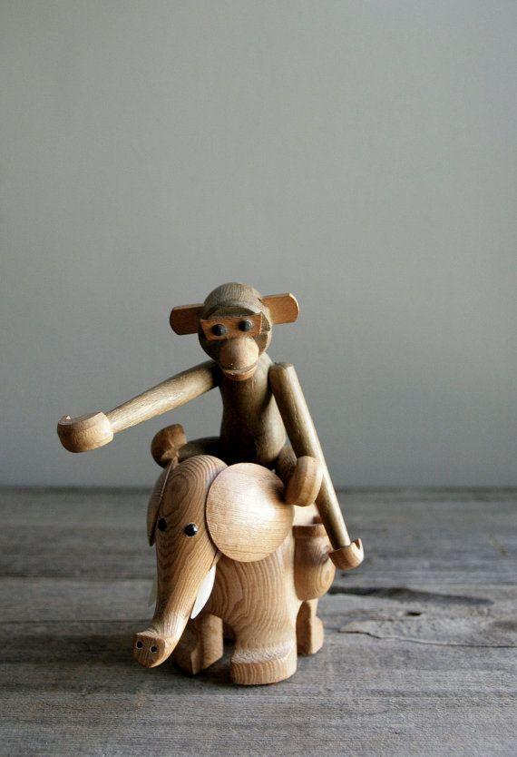 mid century wood elephant
