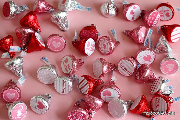 Easy Valentine's Hershey Kisses labels