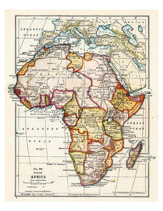 old map of Africa from 1916, a printable digital map from ArtDeco on Etsy, a great source for vintage images.