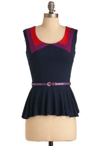 Smile While You Style Top - Mid-length, Casual, Blue, Red, Purple, Color Block, Buckles, Sleeveless