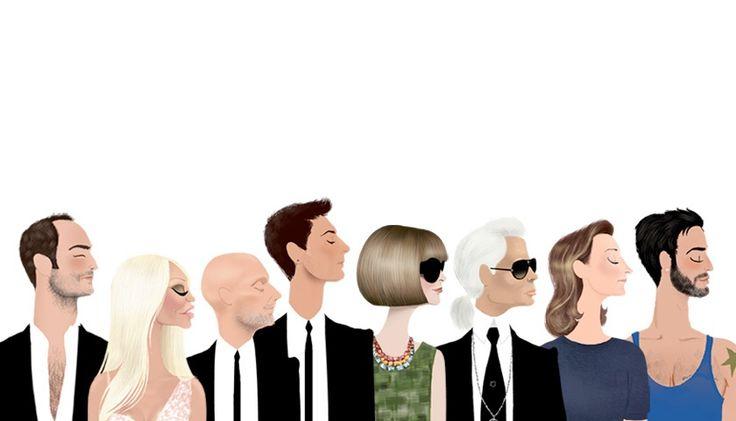 Tom Ford, Donatella Versace, Domenico Dolce, Stefano Gabbana, Anna Wintour, Karl Lagerfeld, Miuccia Prada & Marc Jacobs....by Adrian Valencia Illustration