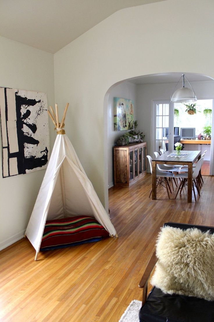 Teepee reading nook in Carrie & Hal's Modern Bohemian Home.