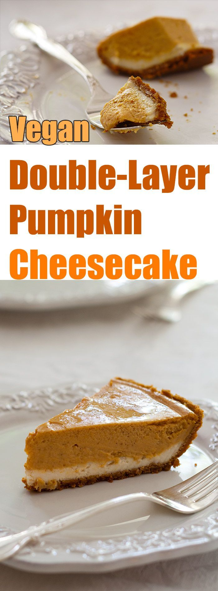 This amazing vegan cheesecake is lightly lemon flavored on the bottom and pumpkin spice on the top.