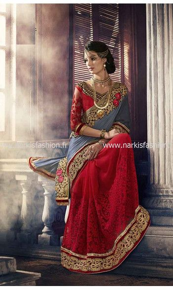 Saree Mariée Mahiya - Rouge #Bollywood #Saree #Sari NarkisFashion #Desi #Bridal #Indian