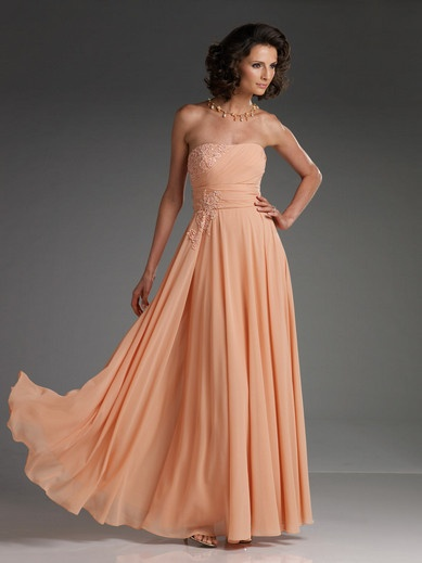 Sheath Strapless Empire Waist Pleated Long Chiffon Orange Mother of The Bride Dress