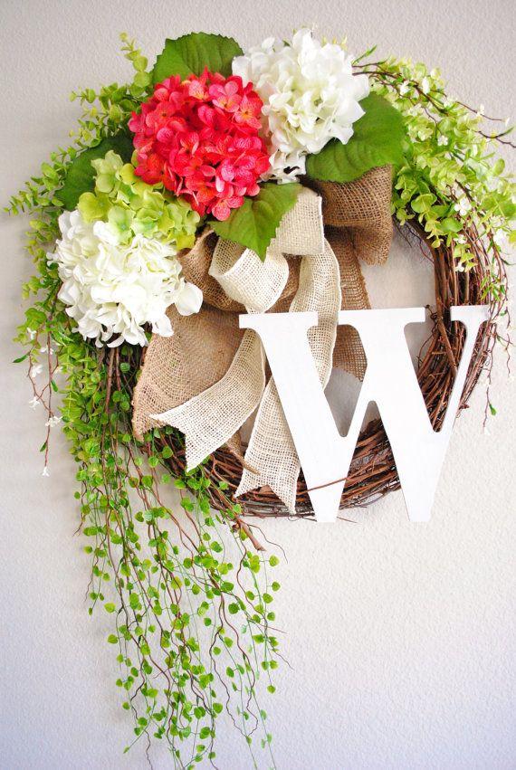 Pink & White Hydrangea Monogram Grapevine Wreath with Burlap. Spring Wreath. Summer Wreath. Housewarming, Wedding, Mother's Day.