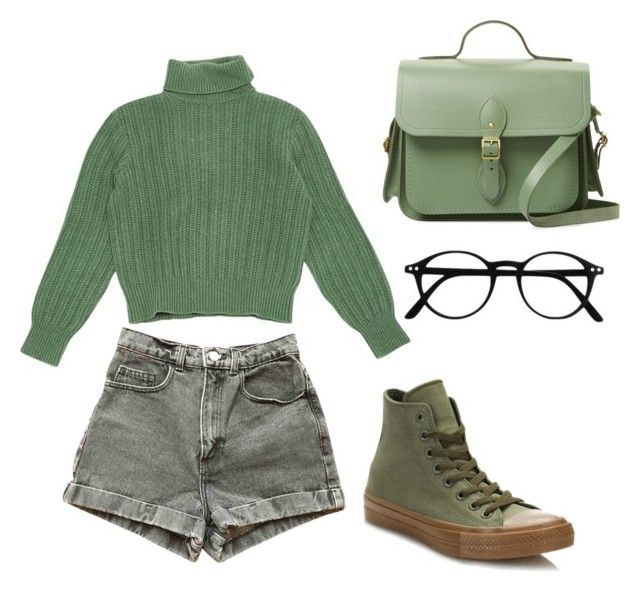 """Green"" by sapple1116 on Polyvore featuring American Apparel, Yves Saint Laurent, Converse and The Cambridge Satchel Company"