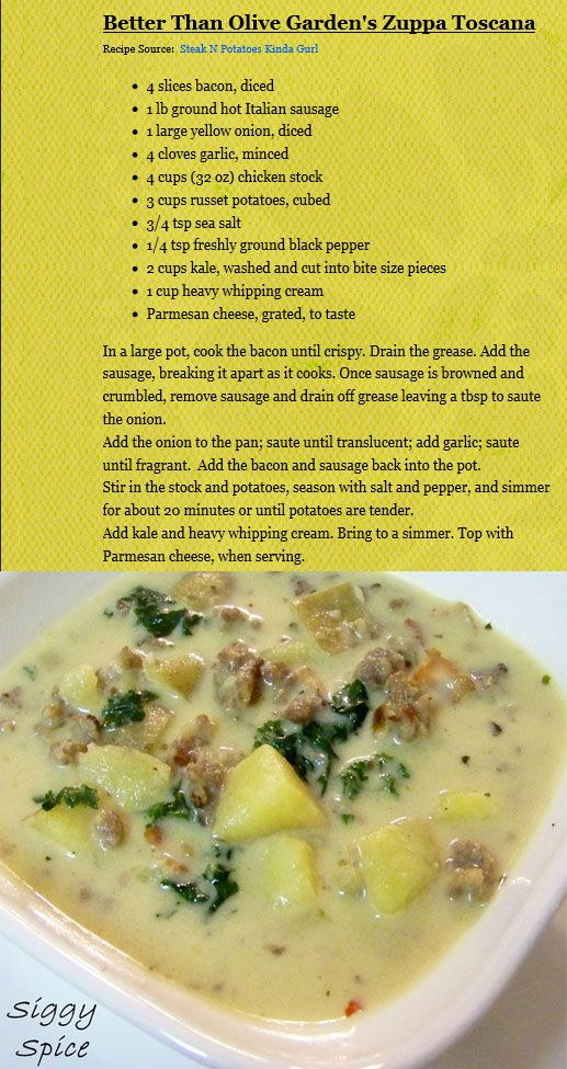 HEALTHIER crock pot Olive Garden Zuppa Toscana-sub turkey sausage, added red bell pepper and 2 carrots, 1/2 c evaporated milk or reduced fat milk, 1-1/2 cartons chicken broth, 1/2 pkg kale, slice potatoes in different thickeness to avoid melting, 4 hrs on low & 1 hr on high to thicken (kt)*would sub out cauliflower for potatoes!