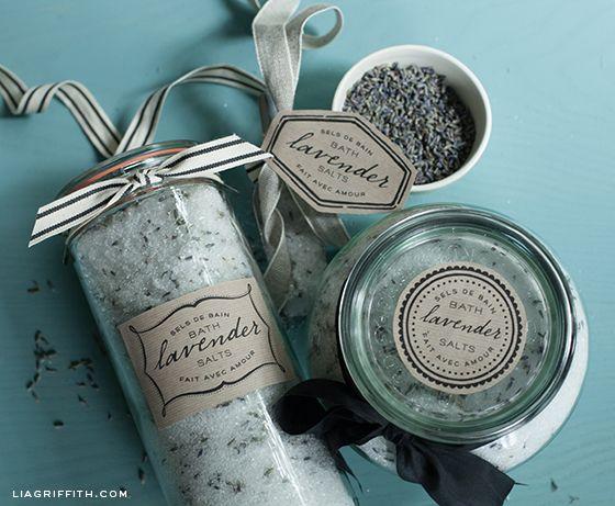 Lavender Bath Salt Labels printable labels. Recipe link for salts in post.