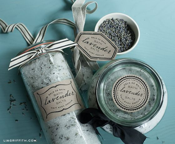 Lavender Bath Salt Labels printable labels.  Recipe link for salts in post.