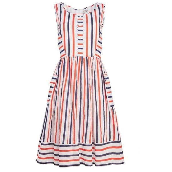 Dylan Multi Colour Stripe Sleeveless Dress | Vintage Cotton Summer... ($51) ❤ liked on Polyvore featuring dresses, striped, vintage dresses, vintage looking dresses, cotton dress, striped summer dress and sleeveless dress