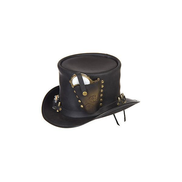 Steampunk Derringer Leather Top Hat ($399) ❤ liked on Polyvore featuring accessories, hats, steampunk, headwear, tie back hat, top hat, leather brim hat, brimmed hat and leather top hat