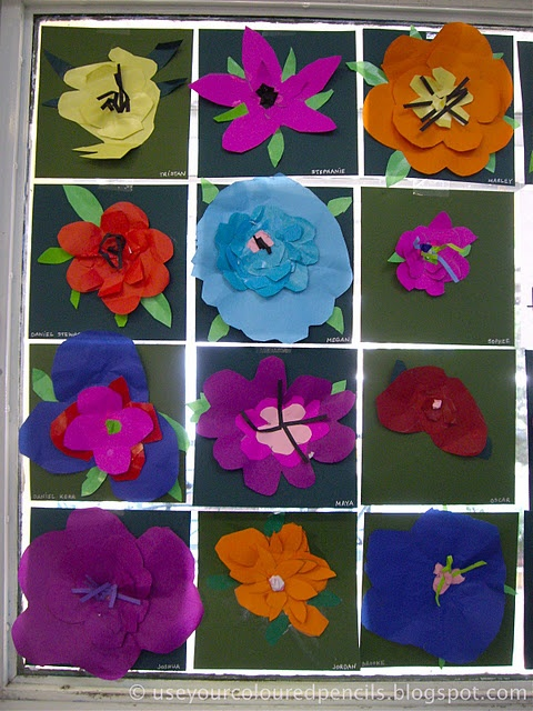 Love these Bright Cheery Flowers- paper Collage Flowers 3-D
