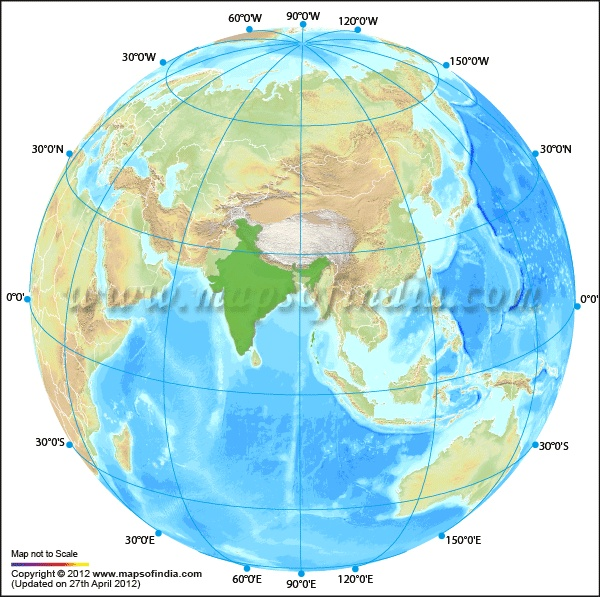india globe showing the india centric globe map of the world to present the accurate geographical location of india in the world globe