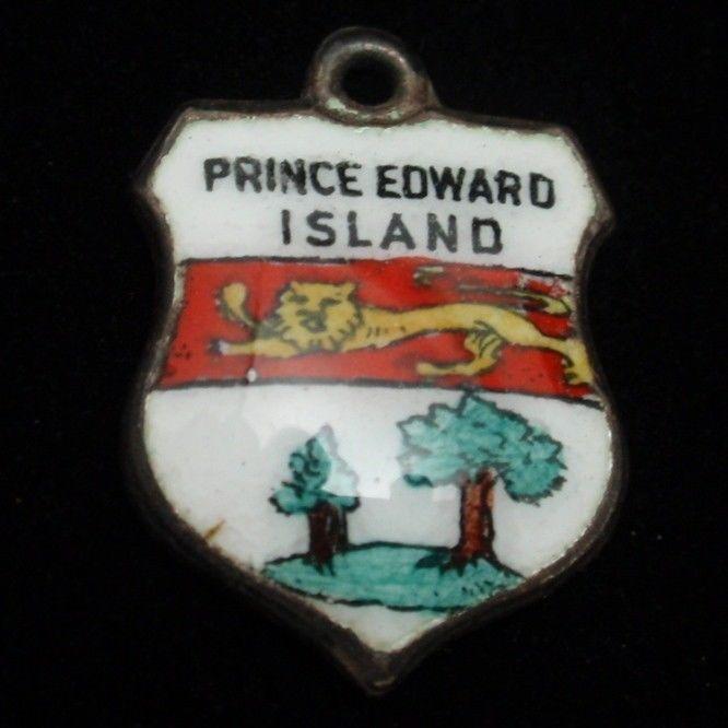 Prince Edward Island Travel Shield Charm Sterling Silver Enamel
