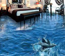 3d suelo impermeable personalizada wallpaper Tiburones coman delfines mar mundo 3d baño piso foto foto wallpaper para paredes 3d(China)