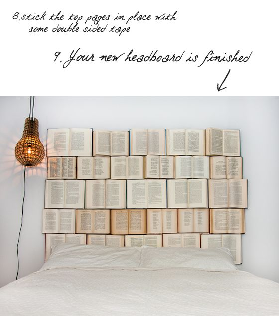 A book headboard! How awesome is that ♥