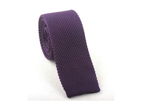 Purple Knit Ties.Mens Knitted Ties.Purple Skinny Ties.Wedding Ties.Solid Knitted Neckties.    Color:Purple  Style: Solid/Knit  Width:2